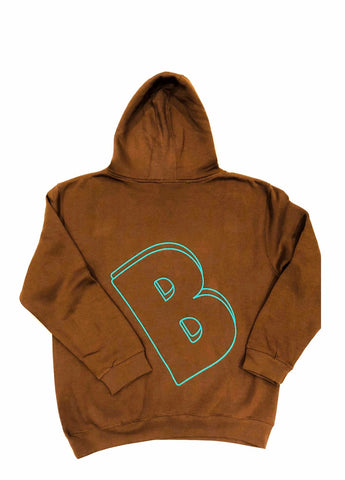 BELLY Premium Hoodie Chocolate  - Aqua Print