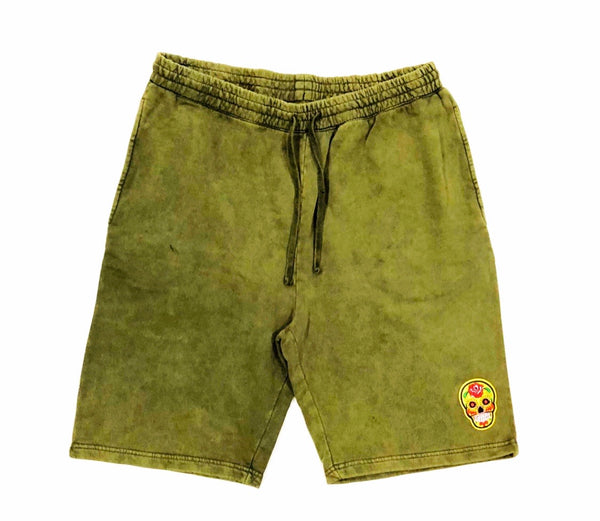 Olive Calavera Black Tech Short Embroidery Felt Multicolor Patch