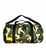 Duffel Bag - Camo - Black and Mustard Leather Accents