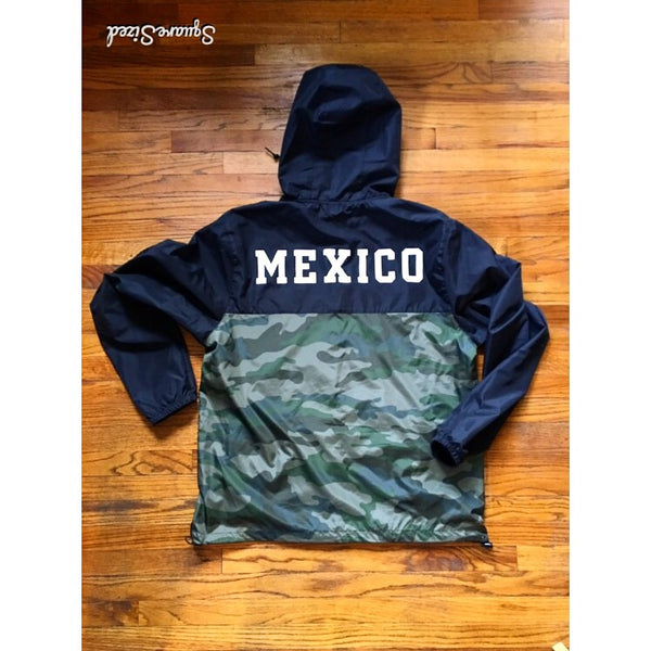 Mexico Classic Light Weight Track Jacket - Two Tone Black/Camo WHITE PRINT