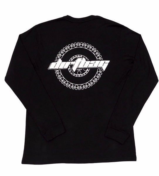 Dirtbag Premium Long Sleeve Tee Black  - White Print -