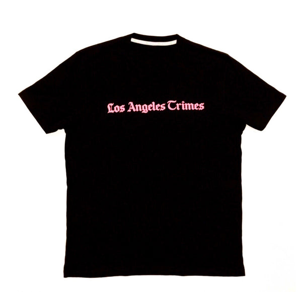Daily News Los Angeles Crimes  Premium Jet Black Tee- Pink Print