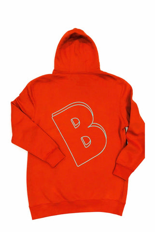 BELLY Premium Hoodie Rich Carrot  - Aqua Print