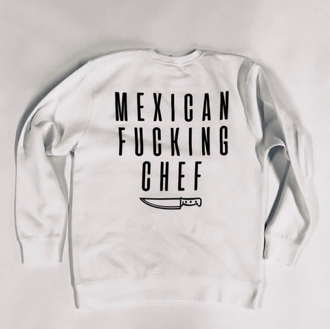 Mexican Fucking Chef  Premium Crewneck - Bone Color / Black Print