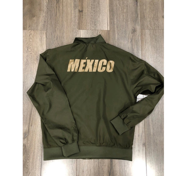 Army Green MEXICO Bomber Jacket - Sand Matte Print