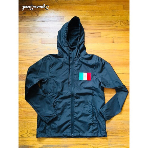 Mexico Classic Light Weight Track Jacket - Jet Black / Frontal Patch/ White Back Print