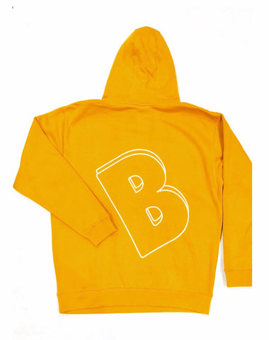 BELLY Premium Hoodie Mustard Yellow - White Print