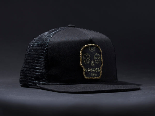 "Calavera AKA "" Mr.Tempo Tattoo hat  Black Patched Trucker Hat  Black /Black  Patched"