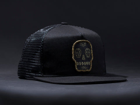 Calavera  Black Patched Trucker Hat  Black /Black  Patched