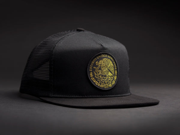 MEXICO Black /Gold  Patched Trucker Hat