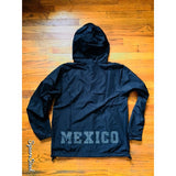 "Mexico Classic Light Weight Track Jacket - JET BLACK  "" WHITE DOT PRINT """