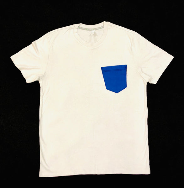 Premium Cut and Sew Off White  Pocket Tee- Royal Blue Pocket  -