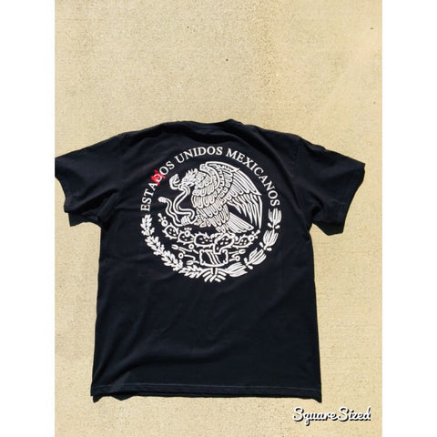 Unidos Mexicanos Tee - Black  / White - Red Print