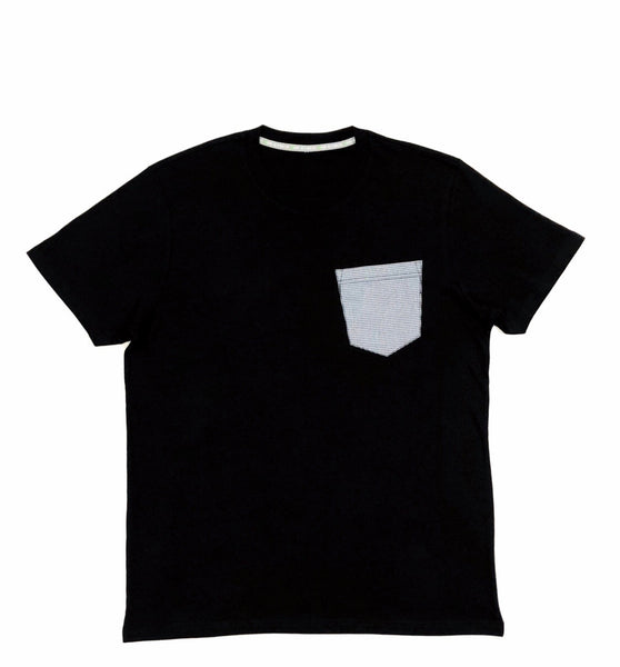 Premium Cut and Sew Black Pocket Tee - Micro Blue Cube  -