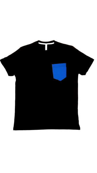 Premium Cut and Sew Black Pocket Tee - Royal Blue Pocket -