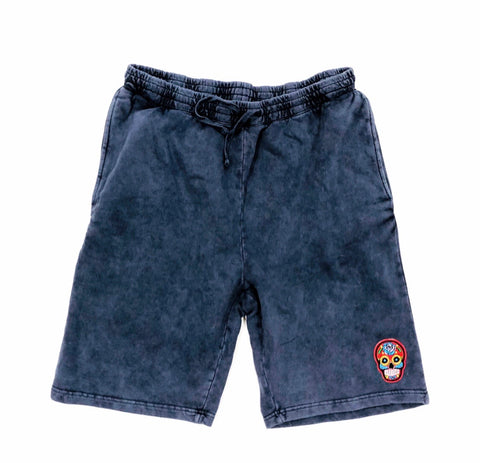 Navy Calavera  Tech Short Embroidery Felt Multicolor Patch