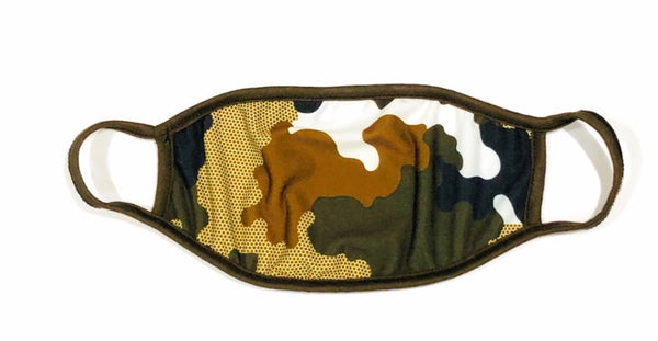 Cloth Face Mask Geometric Olive Camo - Olive Strap
