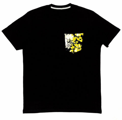 Premium Cut and Sew Black Pocket Tee - Yellow Floral Pocket -