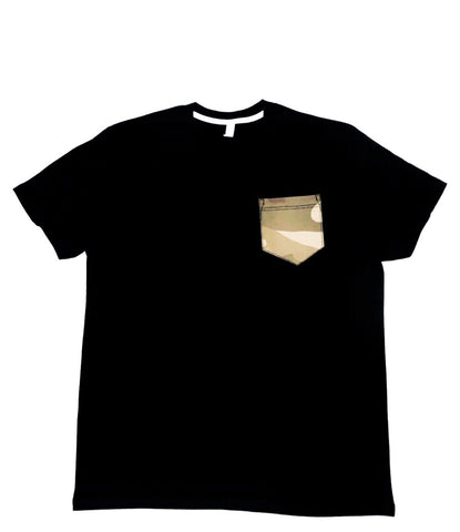Premium Cut and Sew Black Pocket Tee Gray Camo Pocket