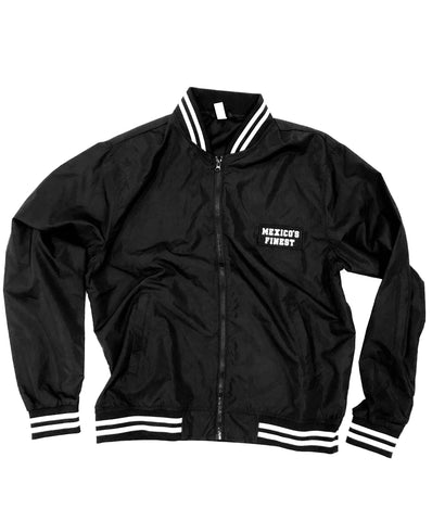 Mexico's Finest Black Stripped Bomber Jacket - Frontal Patch NO PRINT