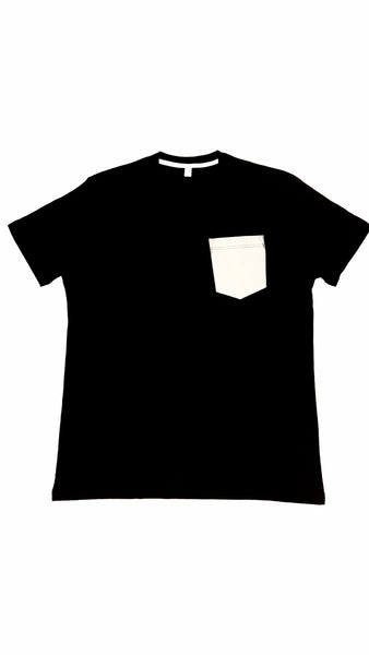Premium Cut and Sew Black Pocket Tee- Cement Pocket -