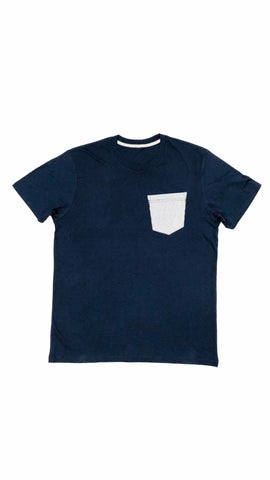 Premium Cut and Sew Navy Pocket Tee - Micro Blue Cube  -