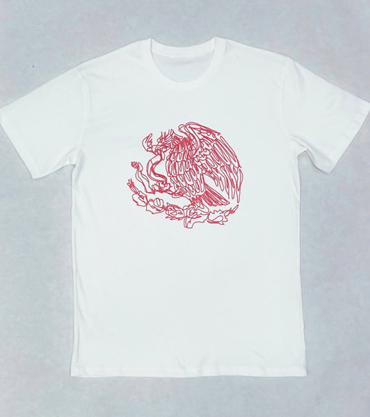 Mexico Single Stroke Art Premium Off White Tee - Burgandy  PRINT -