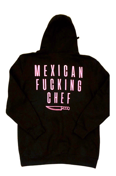 Mexican Fucking Chef  Jet Black  Premium Hoodie - Black / Pink
