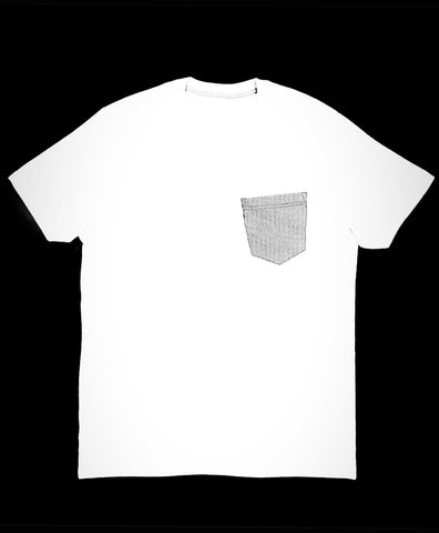 Premium Cut and Sew Off-White  Pocket Tee - Blue Micro Cube  Pocket -