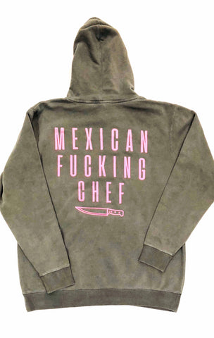 Mexican Fucking Chef  Charcoal Vintage Premium Hoodie - Charcoal / Pink