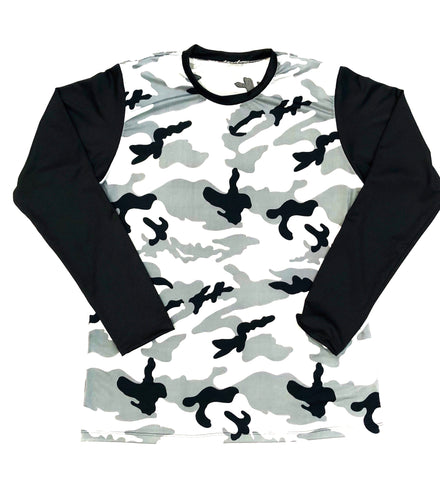 DIRTBAG LONG SLEEVE 100% Custom No Print  Black Gray Camo / Black Sleeves