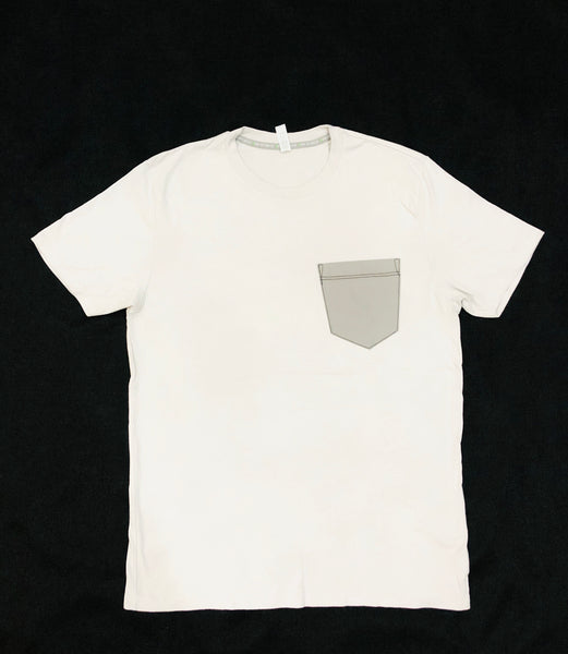 Premium Cut and Sew Off White  Pocket Tee- Cement  Pocket -
