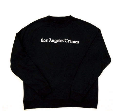 Daily News Los Angeles Crimes  Premium Jet Black Crewneck - White Print