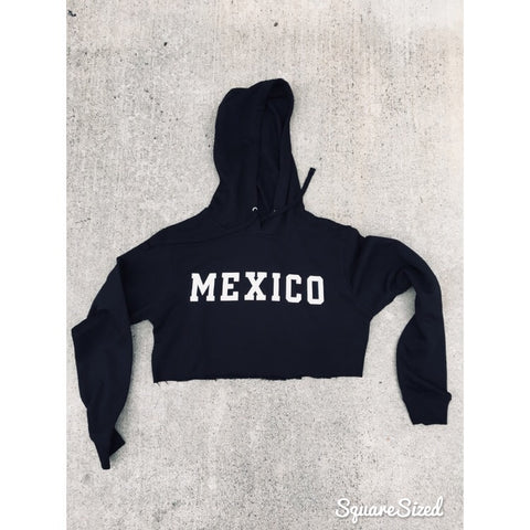 Women's Mexico Black Crop Top Hoodie