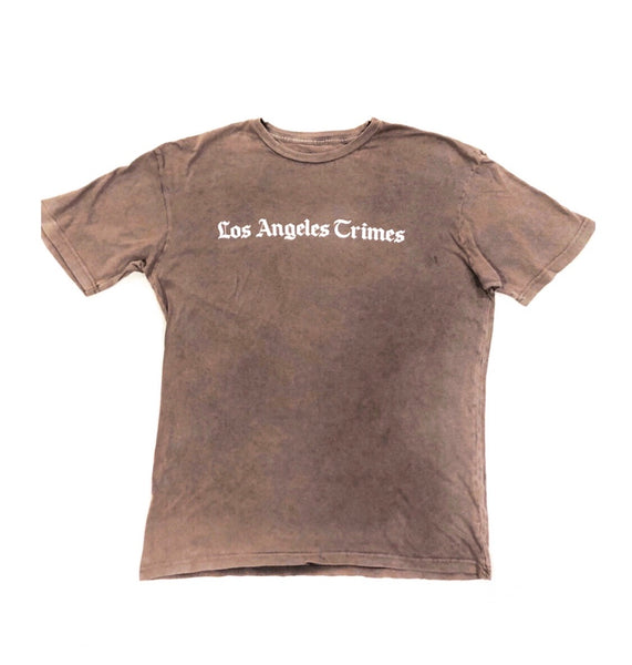 Daily News Los Angeles Crimes  Vintage Gray White Print Tee