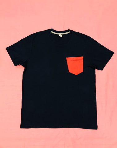 Premium Cut and Sew Black Pocket Tee- Infrared Pocket -