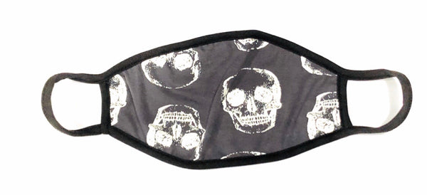 Cloth Face Mask White Calavera on Charcoal   - Black Strap