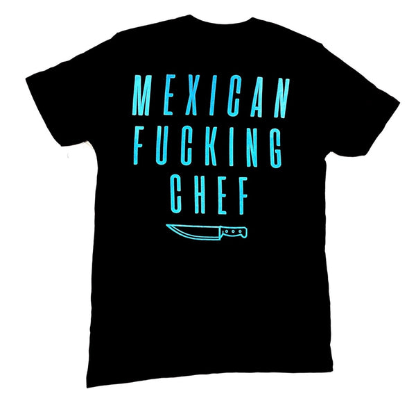 Mexican Fucking Chef - Batalla Tee - Black / Powder Blue Print