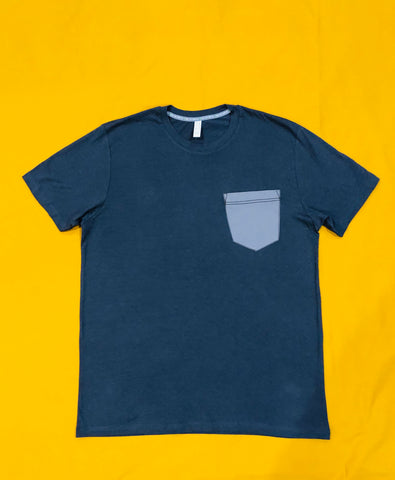Premium Cut and Sew Industrial Gray Pocket Tee- Cement  Pocket -