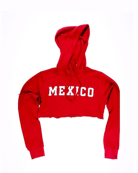 Women's Mexico Red Crop Top Hoodie With WHITE PRINT