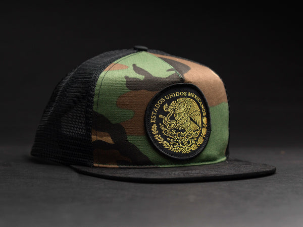 86eb9b17b4e166 MEXICO Camo /Black Patched Trucker Hat – Belly Of The Beast LA