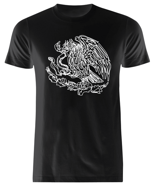 Mexico Single Stroke Art Premium Black  Tee - WHITE PRINT -