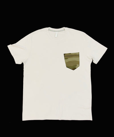 Premium Cut and Sew Off White  Pocket Tee- Sand Camo Pocket  -