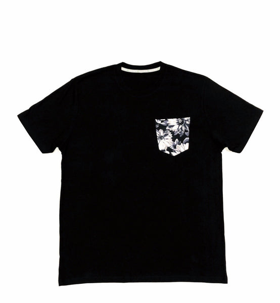 Premium Cut and Sew Black Pocket Tee - Chracoal Floral Pocket -