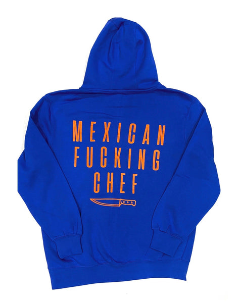 Mexican Fucking Chef  Jet Black  Premium Hoodie - Royal Blue / Orange Print