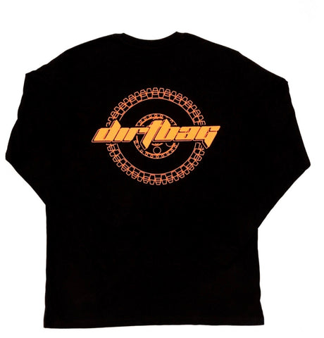 Dirtbag Premium Long Sleeve Tee Black  - Fluorescent Orange Print -