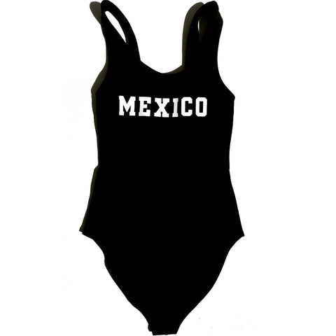 Women's Mexico Bodysuit Black / White Print