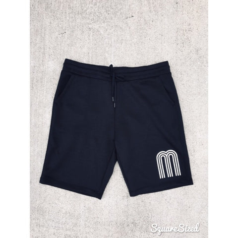 M Black Premium Tech Shorts W/ White Frontal Print