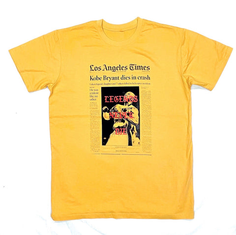 """LEGENDS NEVER DIE "" Mustard tee"