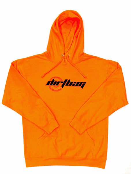 Dirtbag Premium Hoodie Orange Fluorescent -Black  Print -
